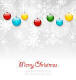 Christmas Greeting Card with Colorful Balls Stock Photo