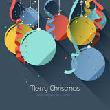Christmas greeting card. With colorful baubles and ribbons- flat design style Stock Photos