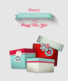 Christmas greeting card with colorful gift boxes, illustration Royalty Free Stock Photos