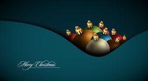 Christmas Greeting Card with Colorful Globes royalty free illustration