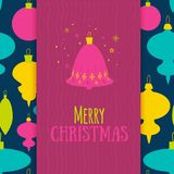 Christmas greeting card in colorful modern style with particles and snowflakes. Bell symbol on brignt ball pattern Royalty Free Stock Images