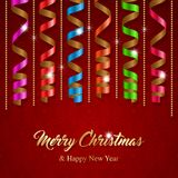 Christmas greeting card. With colorful serpentine ribbons. Vector Illustration Stock Photo