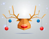 Christmas greeting card concept with polygonal reindeer on winter background. Vector Illustration Royalty Free Illustration