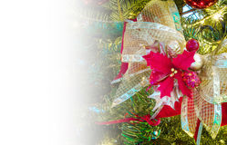 Christmas greeting card with copy space, ribbon and poinsettia Stock Photo