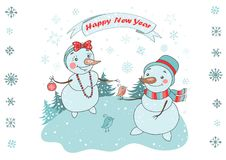 Christmas Greeting Card with cute couple snowman and birds Royalty Free Stock Images