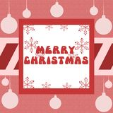 Christmas greeting card in red with decorations Stock Photography