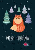 Christmas greeting card with fox. Christmas greeting card with cute fox. Vector background royalty free illustration