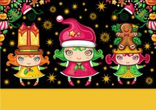 Christmas greeting card with cute  girls Stock Image