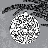 Christmas greeting card with cute hand drawn text on ball. With fir branches Royalty Free Stock Images