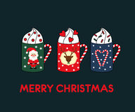 Christmas greeting card with cute hot mugs Stock Photography