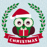 Christmas greeting card with cute owl. Merry Christmas! Greeting card with cute owl in Santa hat. Vector illustration Stock Photography