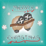 Christmas greeting card with cute owls Stock Photo