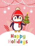 Christmas  greeting card with cute penguin. Stock Images