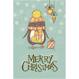 Christmas greeting card with a cute penguin Stock Photos