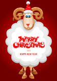 Christmas greeting card. With cute sheep, symbol of year 2015 Royalty Free Stock Photography