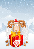 Christmas greeting card. With cute sheep, symbol of year 2015, and gift box on winter landscape background Royalty Free Stock Images