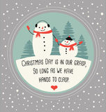 Christmas greeting card with cute snowmen. Drawn Royalty Free Stock Photos