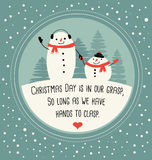 Christmas greeting card with cute snowmen. Drawn in simple flat Stock Photos