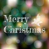 Christmas greeting card on dark blurred background with bokeh effect stock illustration