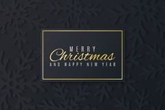 Christmas greeting card. Dark snowflakes cut out of paper. Happy New Year 2019. Seasonal festive web banner. Black label with text. Vector illustration. EPS 10 vector illustration