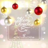 Christmas Greeting Card with Christmas Decorations and Fireworks. Christmas greeting card with Christmas tree decorations, fireworks and spruce Stock Images