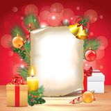 Christmas greeting card with decorations Stock Photos