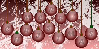 Christmas greeting card with decorations. Illustration ideal for christmas greeting cards with decorated balls wit the word merry christmas on it and two red Stock Images