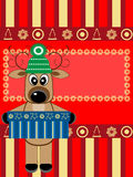 Christmas greeting card with deer Stock Images
