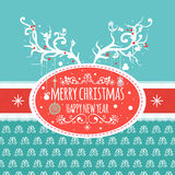 Christmas greeting card with deer antler, vector. Christmas  greeting card with cute deer, balls and birds, vector Royalty Free Stock Photos