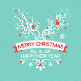 Christmas greeting card with deer antler, vector Stock Images