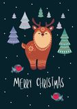 Christmas greeting card with deer. Christmas greeting card with cute deer. Vector background royalty free illustration