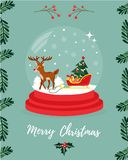 Christmas greeting card with deer and sledge.  Royalty Free Stock Image