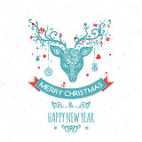 Christmas  greeting card with deer, vector. Christmas  greeting card with cute deer, balls and birds, vector Stock Photo
