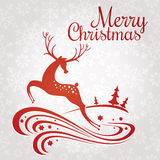 Christmas greeting card with deer Royalty Free Stock Photo