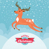 Christmas greeting card with deer Royalty Free Stock Photography