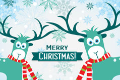 Christmas greeting card with a deer, vector Royalty Free Stock Photos