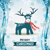 Christmas greeting card with a deer, vector Stock Photography