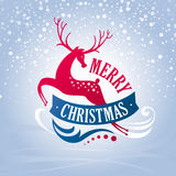 Christmas greeting card with deer Stock Image