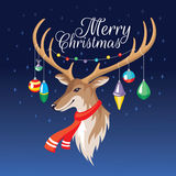 Christmas greeting card with deer Royalty Free Stock Image