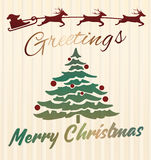 Christmas greeting card with deer and Xmas tree, vector design template  Stock Image