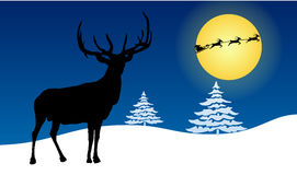 Christmas greeting card with deer and Xmas tree, vector design template Stock Photo
