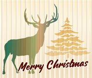 Christmas greeting card with deer and Xmas tree, vector design template Stock Photos