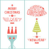 Christmas greeting card for design cafe with tree. Vector christmas greeting card for design cafe with tree, plug and new year lettering with decorative elements Stock Images