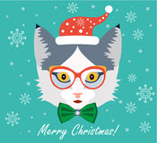 Christmas Greeting Card Design. Christmas Cat Royalty Free Stock Images