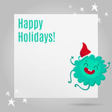 Christmas greeting card design with cute monster Royalty Free Stock Photography