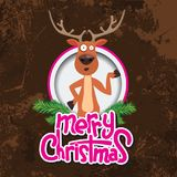 Christmas reindeer pointing at something in a circle. Merry christmas calligraphy. Old paper and Grunge effect with Stock Photos