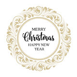 Christmas greeting card. Christmas design with swirls and calligraphic text  over white. Merry Christmas greeting card. Vector illustration Stock Image