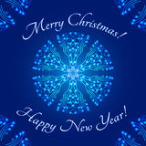 Christmas greeting card design template, glowing snowflake stylized round ornament and text Royalty Free Stock Photos