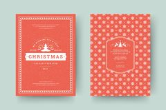 Christmas greeting card design template vector illustration. Christmas greeting card design template. Merry Christmas and holidays wishes retro typographic stock illustration