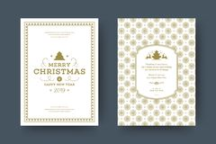 Christmas greeting card design template vector illustration. stock photos